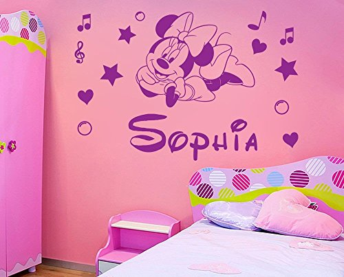 Personalized name Minnie Mouse Vinyl Wall Sticker Kids Art Wall paper Decal For Nursery Room custom name-You select Name and ()