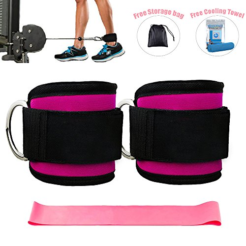 Ankle Straps for Cable Machines and Resistance Band plus Carry Bag double stitching and reinforced D-rings- Padded Ankle Strap Attachment for Weightlifting Leg Gym Workout, Fitness Ankle Cuffs(Pink) by Kecho