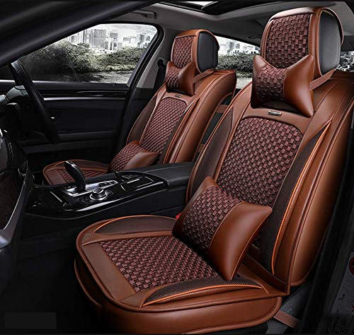AYCYNI PU Leather Ice-Silk Car Seat Cover- Anti-Slip Suede Backing Universal Fit Car Seat Cushion for Both Fabric And Leather Car Seats,Beige,Brown: Kitchen & Home