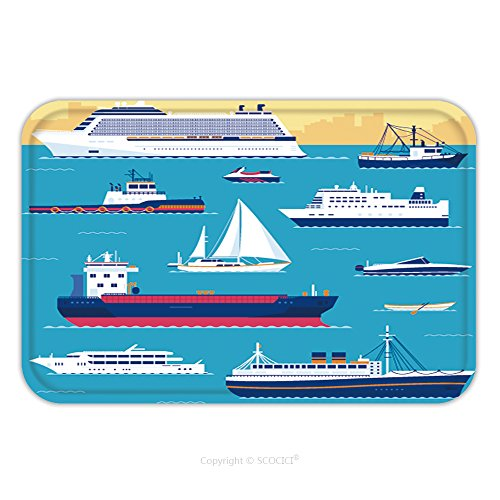 Flannel Microfiber Non-slip Rubber Backing Soft Absorbent Doormat Mat Rug Carpet Set Of Flat Yacht Scooter Boat Cargo Ship Steamship Ferry Fishing Boat Tug Bulk Carrier 265141118 for Indoor/Outdoor/Ba