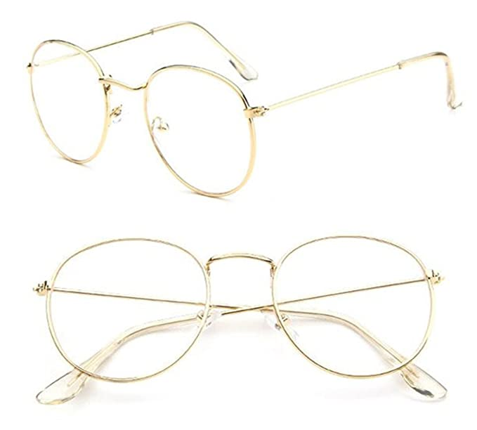 353ec385e8 Image Unavailable. Image not available for. Color  Vintage Oval Gold  Eyeglass Frames Full Rim Metal Glasses Myopia Eyewear Spectacles