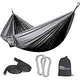 Forbidden Road Hammock Single & Double Camping Portable Parachute Hammock for Outdoor Hiking Travel Backpacking - 210D Nylon Taffeta Hammock Swing (Black & Grey)
