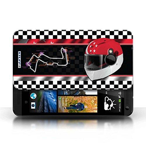 Etui / Coque pour HTC One/1 M7 / Singapour conception / Collection de F1 Piste Drapeau