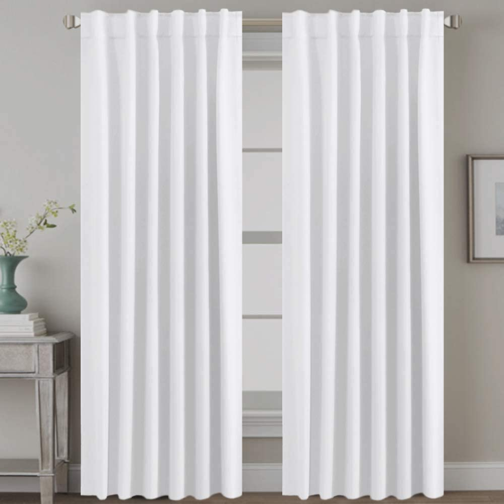 H.VERSAILTEX White Curtains Thermal Insulated Window Treatment Panels Room Darkening Privacy Assured Drapes for Living Room Back Tab/Rod Pocket Bedroom Draperies, 52 x 96 Inch, 2 Panels