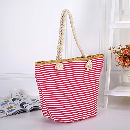 Elegant Men Summer Canvas Bag Women RETON New for Bag Beach Red Striped and Shoulder Naval Bag Shopping fZqBwU