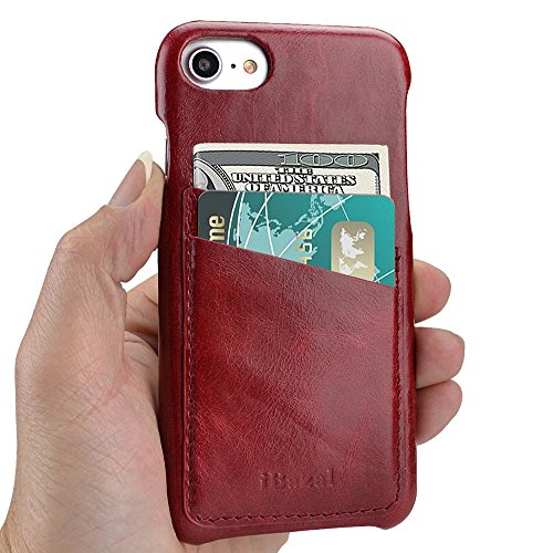 iPhone 8 Case, iPhone 7 Case, iBazal Card Holder Leather Case, Business Style Soft Genuine Leather Case Back Cover with 2 Card Slots for iPhone 7/8 4.7inch - Red