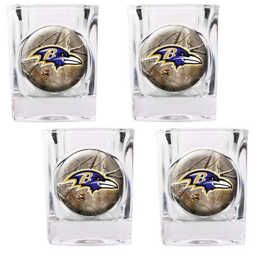 NFL Baltimore Ravens Open Field Four Piece Square Shot Glass (Square Shot Glass Nfl Football)