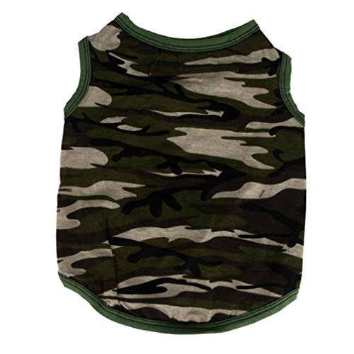 2017 Hot Pet Vest! AMA(TM) Pet Puppy Small Dog Clothes Chihuahua Cotton Army Camouflage Vest T-Shirt Doggy Summer Apparel Costume (M, -