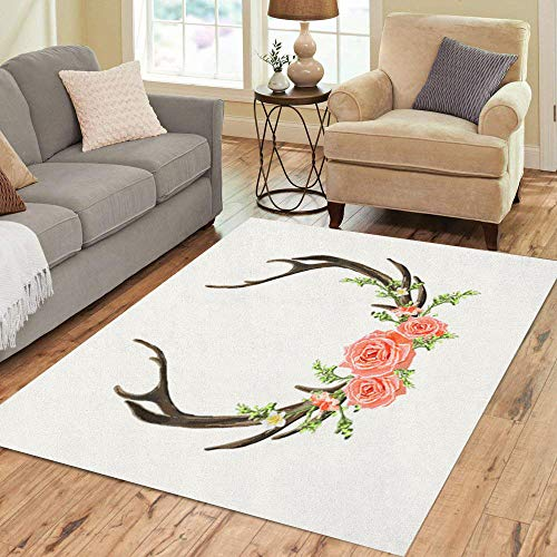 Semtomn Area Rug 5' X 7' Beautiful Horns Flowers Boho Chic Deer Antler Roses Branches Home Decor Collection Floor Rugs Carpet for Living Room Bedroom Dining Room (Graphic Rose Rug)