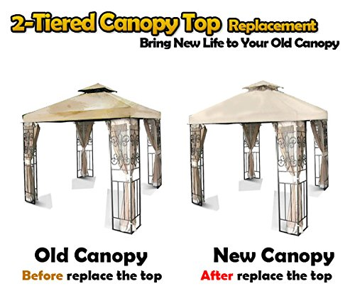 NEW 10' x 10' TWO TIER REPLACEMENT GAZEBO CANOPY TOP COVER SUN SHADE 10x10 BEIGE
