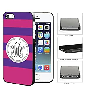 Purple And Pink Stripe With Gray Monogram (Custom Initials) Hard Plastic Snap On Cell Phone Case Apple iPhone 5 5s