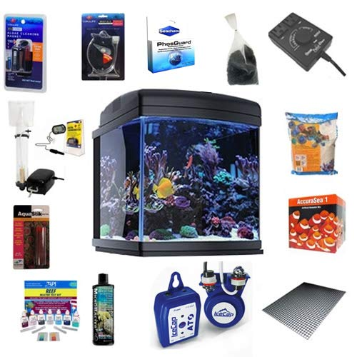 JBJ 28 Gallon Nano Cube WiFi LED Aquarium Deluxe Reef Package w/ATO Without The Stand