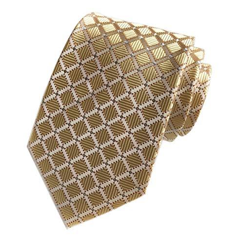 Mens Fashion Style Light Gold Silver Plaid Inspired Necktie Pretty Birthday Gift