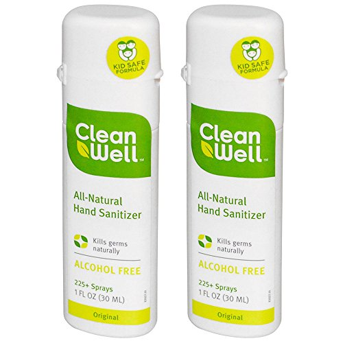 CleanWell Alcohol Free Natural Hand Sanitizer Ð Travel Size Bulk Pack of 2, With Thyme Oil & Aloe, Great Antimicrobial Spray For Kids & Sensitive Skin, Original Scent, 1 oz. (Pack of 2)