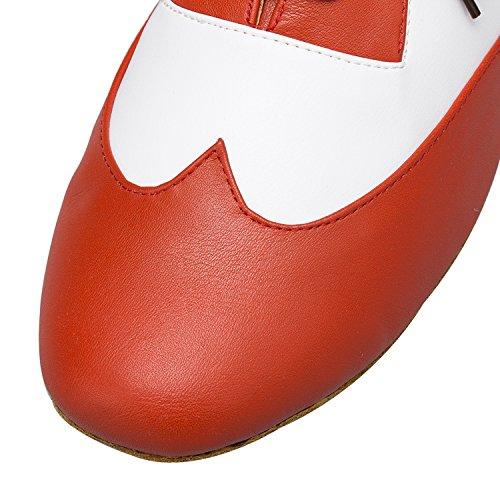 Minishion Mens Th177 Mode Spets-up Läder Bröllop Ballroom Latin Taogo Dansskor Apelsin
