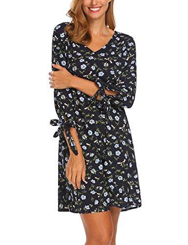 SE MIU Women Floral Print Long Sleeve Tunic Loose Casual Short Shirt Mini Dress, Navy Blue, M