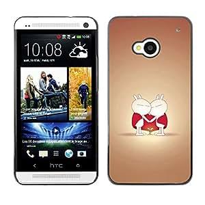 Be Good Phone Accessory // Dura Cáscara cubierta Protectora Caso Carcasa Funda de Protección para HTC One M7 // Cute Cute Love Couple