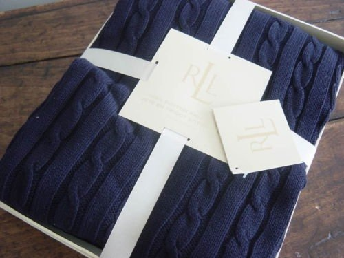 Amazon RALPH LAUREN CLASSIC NAVY Blue COTTON Cable KNIT THROW Delectable Navy Cotton Throw Blanket