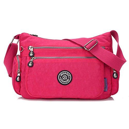 Bolso de mujer SUZone, de nailon, bolso bandolera Bolso de día, deportes, ocio bolso de hombro, mujer, Rosa roja Rosa roja