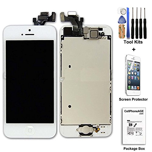 cellphoneage For iPhone 5 New LCD Touch Screen Replacement White Full Set Digitizer Display Assembly With Home Button and Camera + Free Repair Tool Kits + Free Screen Protector (I Phone 5 Replacement Parts)