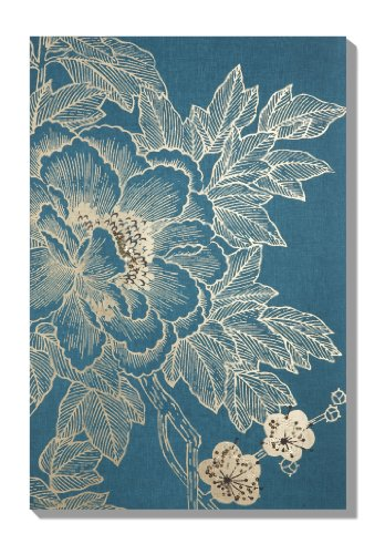 Graham & Brown Lhasa Lotus Teal Linen Yellow Canvas Wall Art