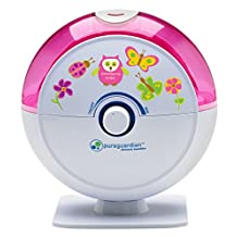 PureGuardian H1010P 14-Hour Ultrasonic Cool Mist Humidifier, Table Top, Pink with Kids Decals