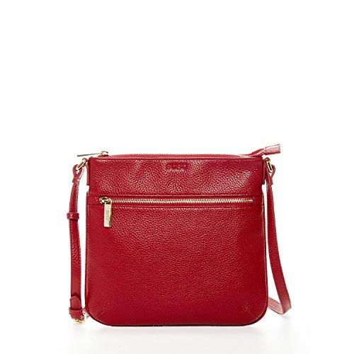 SUSU Red Genuine Leather Crossbody Bag For Women Travel Messenger Bags Zipper Closure Designer Shoulder Handbags