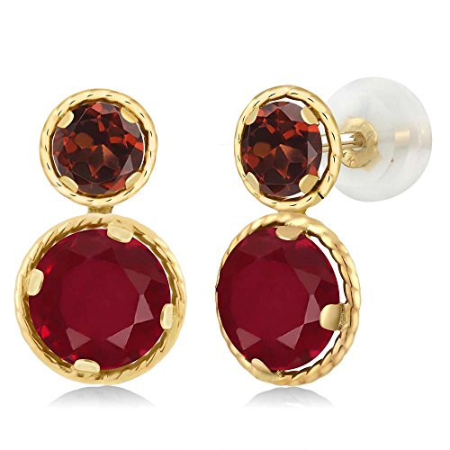 Gem Stone King 2.84 Ct Round Red Ruby Red Garnet 14K Yellow Gold Earrings