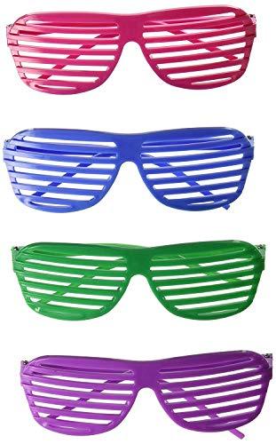 Playscene Party Glasses, 80's Shutter Glasses, 80's Dark Lens Glasses, Animal Print Glasses (2 Dozen, 80's Shutter Glasses)