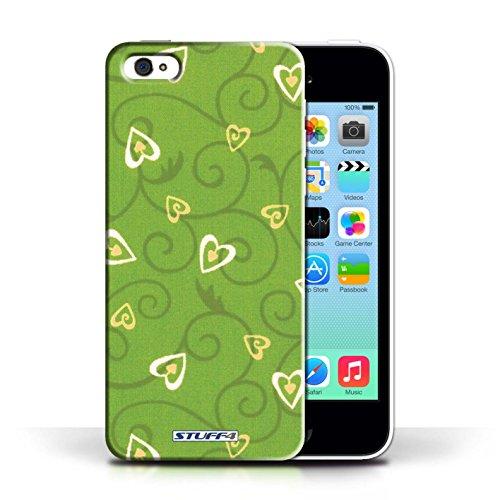 iCHOOSE Print Motif Coque de protection Case / Plastique manchon de telephone Coque pour Apple iPhone 5C / Collection Coeur Vigne Motif / Jaune/Vert