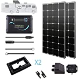 Renogy 200 Watt 12 Volt Monocrystalline Eclipse Solar RV Kit with 30A Adventurer Negative-Ground Charge Controller & Corner Bracket Mount