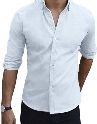 Camisa Slim Fit para Hombre de la Moda para Hombre de Color sólido Blusa de Manga Larga: Amazon.es: Ropa y accesorios