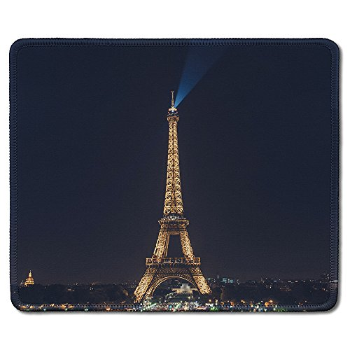dealzEpic - Art Mousepad - Natural Rubber Mouse Pad Printed with Eiffel Tower in Paris at Night - Stitched Edges - 9.5x7.9 inches - Custom Printed Mouse Pad