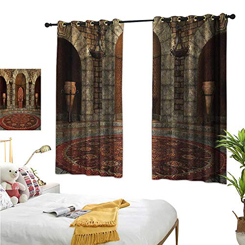 - S Brave Sky Gothic Blackout Draperies for Bedroom Throne of King in Vintage Style Palace Chandelier Medieval Architecture Theme W55 x L39,Suitable for Bedroom Living Room Study, etc.