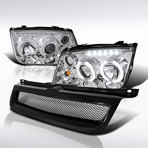 Autozensation For VW Jetta Chrome Halo LED DRL Projector Headlights+Black Mesh Hood Grill