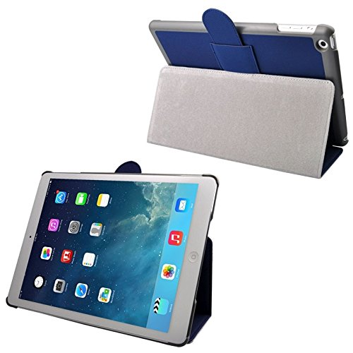 SRY for iPad protection Cloth Texture Leather Case with Holder & Sleep / Wake up Function for iPad Air simple & fashion ( Color : Blue ) by SRY