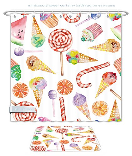 Minicoso Bathroom Two-Piece Suit: Shower Curtain and Bath Rug Colorful Ice Cream Candy Cakes Lollipop Clementine Fruits Cute Birthday Celebration Pattern Multicolor, 71