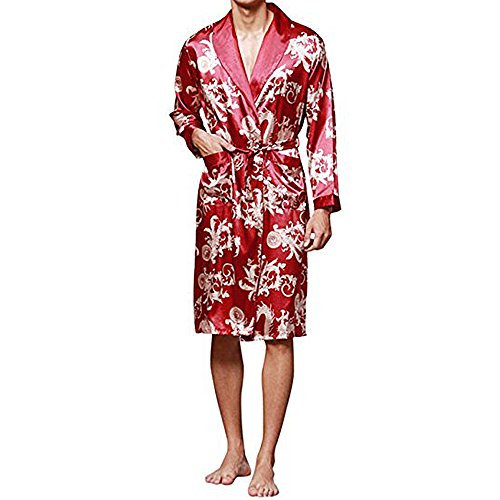 - YIMANIE Men's Satin Robe Dragon Luxurious Silk Spa Long Sleeve House Kimono Bathrobe Lightweight Soft Printed Pajamas Wine Red
