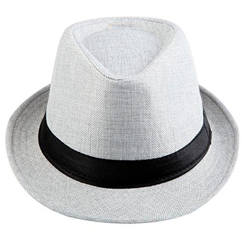 Samtree Fedora Hats for Women Men,Braid Straw Short Brim Jazz Panama Cap(01-Grey)