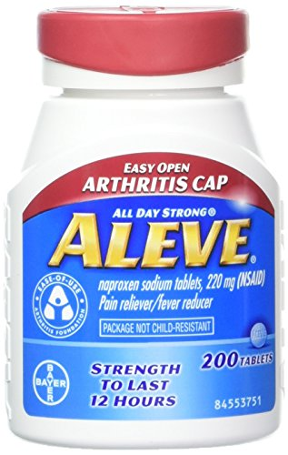 - Aleve Tablets with Easy Open Arthritis Cap, Naproxen Sodium, 220mg (NSAID) Pain Reliever/Fever Reducer, 200 Count (Pack of 2)