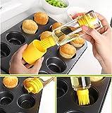 Emoyi Bottle Brush Baster for BBQ 2-in-1 Premiun Silicone Honey Oil Dispenser for Barbecue Cooking Baking Pancake Kitchen