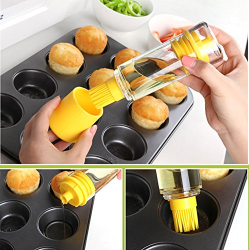Emoyi Bottle Brush Baster for BBQ 2-in-1 Premiun Silicone Honey Oil Dispenser for Barbecue Cooking Baking Pancake Kitchen by Emoyi