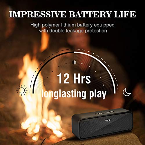 Portable Bluetooth Wireless Speakers, Dual Driver with Crystal Clear Sound/Built-in Mic/Life-Waterproof Small Bluetooth Speaker for Android iPhone (Handsfree Calling, TF Card Slot) by HolyHigh (Image #5)