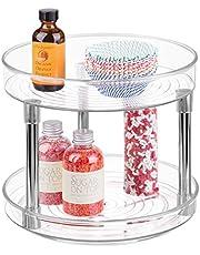 mDesign - Draaiplateau - perfecte carrousel/kruidenrek/specerijenhouder/keukenorganizer - 2-etages/met roterende schappen/plastic