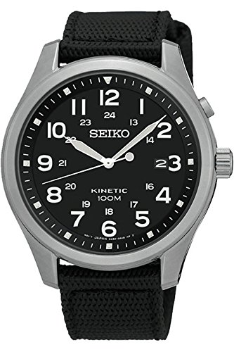 SEIKO SKA727P1,Men's Kinetic,Military Look,Stainless Steel Case,Fabric Strap,100m WR,SKA727 (Kinetic Military Seiko)