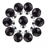 CSKB BLACK 10 PCS 40mm Good-quality Crystal Glass Diamond Cut Door Knob Kitchen Cabinet Drawer Knobs+Screw Home Decoration 8 Colors Available