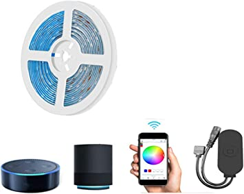 Tira De Luces LED Wireless Wifi Smart Controller 5050 RGB, Compatible Con Alexa, Magic Home, Adecuado Para Android Y Sistema Ios Aplicación De Teléfono Móvil (IP65 A Prueba De Agua),5M300LED: Amazon.es: Bricolaje
