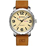 2017 new mens watches top brand quartz genuine brown leather band Curren Wristwatch black 8273