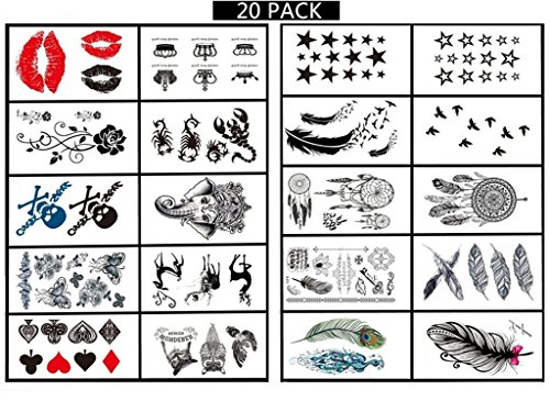 [[20 PACK]Temporary Tattoo - High Gloss Shimmer Effect For Face, Waist, & Leg Tattoos Halloween Costume /] (Last Minute Awesome Halloween Costumes)