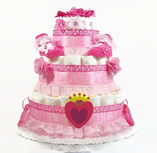 Hearts and Flowers Princess Baby Girl Diaper Cake by As Your Baby Grows Gift Boutique